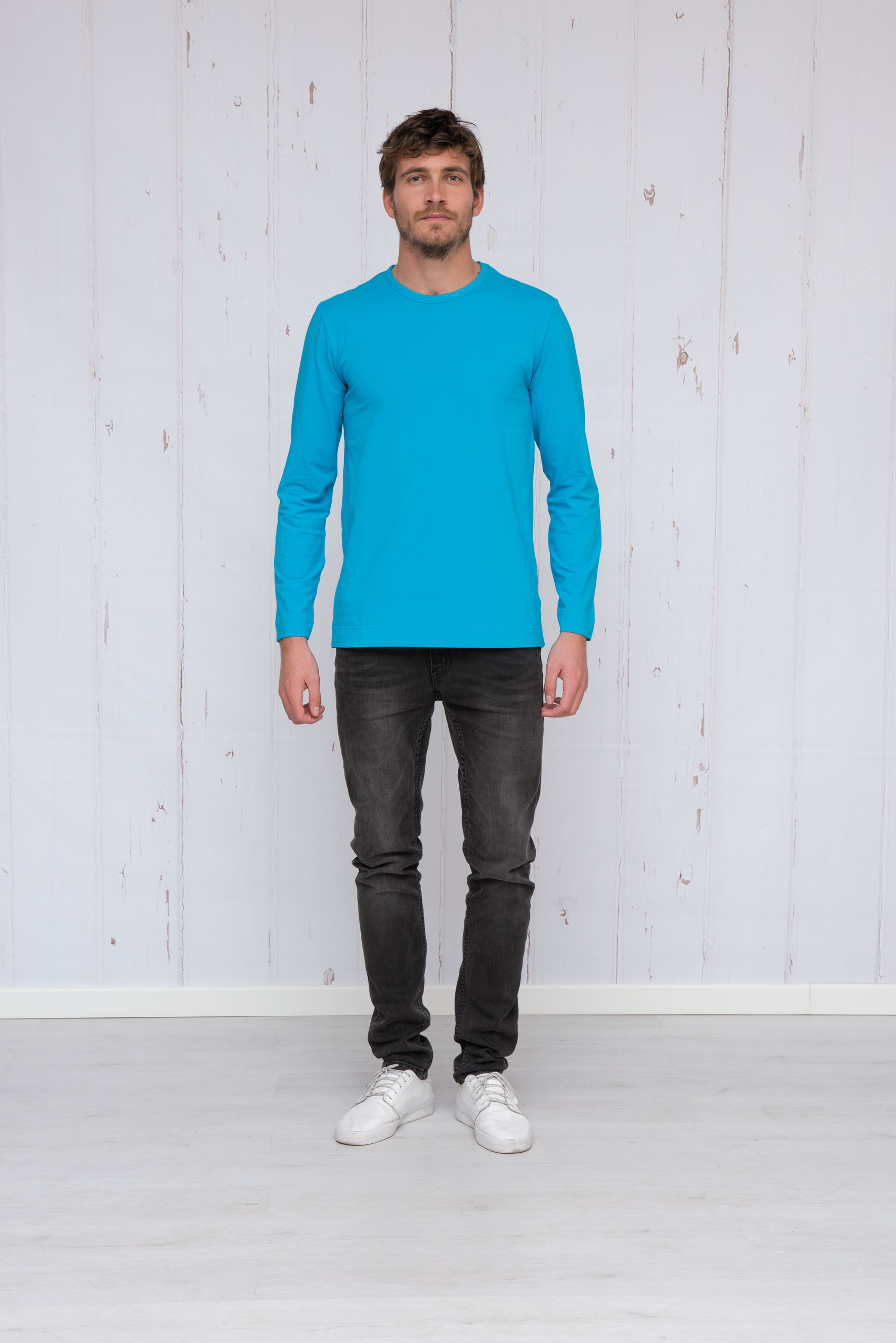 T-shirt crewneck cotton/elasthan longsleeve for him